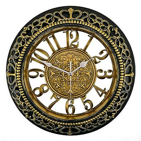 Foxtop 12 Pouces de Style Européen Vintage Rétro Horloge Pendule Murale Antique en Résine de Style Royal, Salle de Séjour Creative Home Boutique Antique Hotel Horloge Murale Muet - or