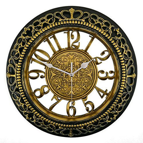 Schlafzimmer Antik Stil Uhr (Foxtop 12 Zoll Stille Nicht-tickende Nostalgie Wanduhr ohne Ticken Vintage Stil, (Ø) 30 cm)