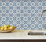 Traditionell Portugiesische Fliesenaufkleber Blau Wandmuster Dekor Ideen (Packung mit 24) (10 x 10 cm)