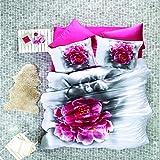 Luoca Patisca 3D Secret Bettwäsche-Set für Doppelbett, 100% Baumwoll-Satin, mit rosafarbenem Rosenmuster