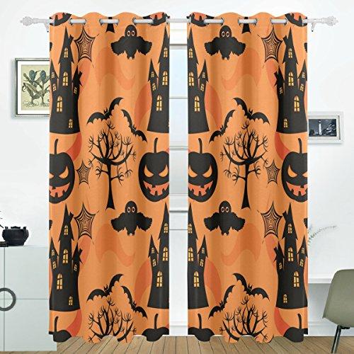 JSTEL Halloween Vorhänge Panels Verdunklung Blackout Tülle Raumteiler für Terrasse Fenster Glas-Schiebetür Tür 139,7x 213,4cm, Set von 2