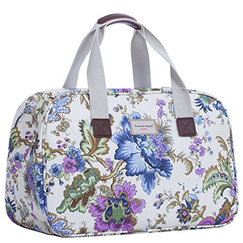 Holiday Weekender, Wachstuch-Handtasche Eule, gestreift Ancient Flowers