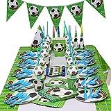 KOBWA Soccer Party Supplies 97 Stück Kindergeburtstag Party Supply Set gehören Fußball Muster Tischdecke, Wimpel Banner, Servietten, Kegel Hüte und Pfeifen