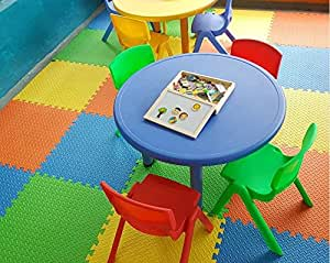 "Intra Kids Fitness Flooring Eva Mats, Green/Yellow/Blue/Orange (24"" x 24"" x 12mm APPR)"