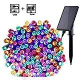 Qedertek Solar Lichterkette Außen mit USB Aufladung 220 LED 23.5M Weihnachten Lichterkette Wasserdicht IP65 Stimmungslichter 8 Modi Außen und Innen Dekoration für Weihnachten, Garten, Feiern - Bunt