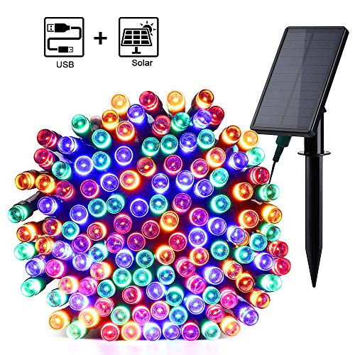 Qedertek Solar Lichterkette Außen mit USB Aufladung 220 LED 23.5M Weihnachten Lichterkette Wasserdicht IP65 Stimmungslichter 8 Modi Außen und Innen Dekoration für Weihnachten, Garten, Feiern - ()