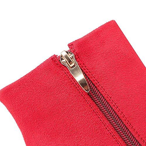 VogueZone009 Damen Reißverschluss Rund Zehe Stiletto Niedrig-Spitze Stiefel Rot