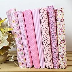 SWIDUUK, 7 piezas de tela de algodón estampada o de lunares para hacer patchwork, algodón, Pink (7pcs / Set), talla única