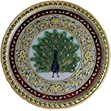 Rajcrafts Rajasthani Unique Marble Handicraft Traditional Circular Platter Plate 12 Inch With Stand Decorative Gift Item Home / Table / Wall Decor Showpiece 008