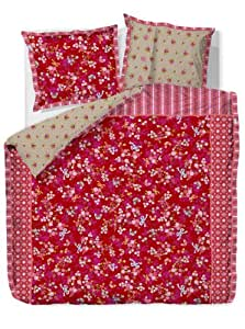 Pip Studio 26000810201 Housse de Couette Chinese Blossom 260 x 240 cm + 2 Taies d'Oreillers 65 x 65 cm Percale Coton Rouge