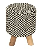 Homescapes Trendiger Stoff Sitzhocker Chevron Aztec Ethno Look 32 x 32 x 42 cm Fußhocker Schemel mit Baumwoll Jute Bezug und Holzbeinen