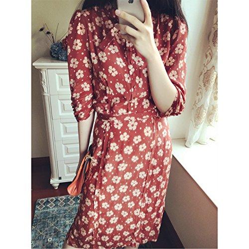 Sieben - Punkte - Ärmel, Cherry Blossom Seidenkleid, Lange Drucken, Retro - Blume Kleid,L,Orange - Cherry Blossom Ärmel