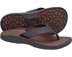 EVERHEALTH Men's Orthotic Sandals Arch Support Flip Flops, Comfort & Light Toe-Post Thong Sandal for Plantar Fasciitis, Flat