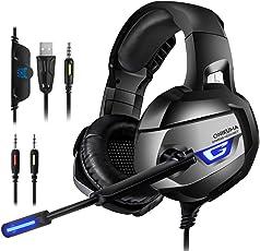 K5 PC,PS4 Gaming Headset-Spiel Kopfhörer mit 1-2 Transfer Kabel, 4D Stereo Große Ohrenschützer mit Mikrofon Speaker blaue LED Lichteffekt Spielkopfhörer für PC, Switch, Laptop, Tablets, Handy, ps4, xbox1