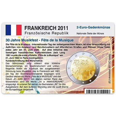Porte-monnaie de carte pour pièce commémorative France 2Euros 201130ans Fête de la musique