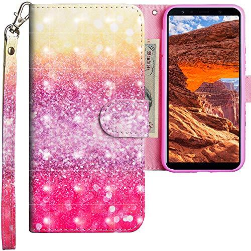 CLM-Tech Cover Compatibile con Samsung Galaxy A7 (2018), Sintetica Pelle Custodia, Portafoglio con Funzione Supporto e Slots, colorato Giallo Porpora
