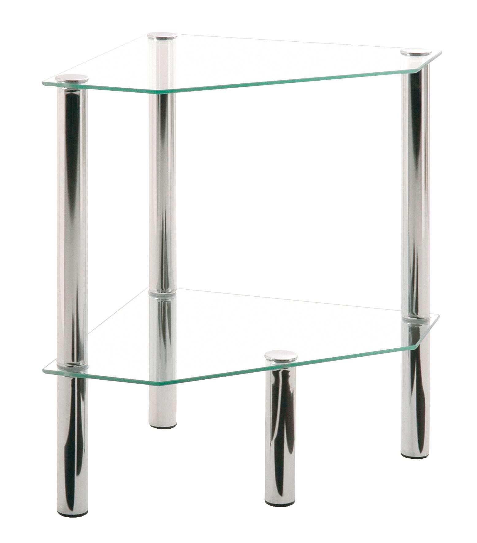 AVANTI TRENDSTORE - Emden - Tavolino da soggiorno in vetro, gambe in accaio, disponibile in diverse