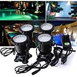 Zetong 36 LED Spot Led Submersible Ampoule /led aquarium,led submersible,spot led,aquarium zetong lampe LED étanche submersible 1 set avec 4 lumiere LED RGB 36 Colorful Underwater submersible Aquarium Spot Light