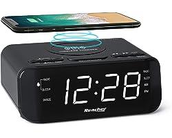Réveil Radio Numérique REACHER avec Chargeur Sans Fil - Grand écran LED à Intensité Variable, Sleep Timer, 2 Musiques à Activ