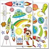 Wandkings Weltraum und Planeten Wandsticker Set, 36 Aufkleber, 2 DIN A4 Bögen, Gesamtfläche 60 x 20 cm