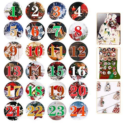 Wokkol Zahlen Adventskalender, 24 Adventskalender Buttons DIY Adventskalender Zahlen Aufkleber aus Alu Metall Blech, Bunte, 1 bis 24 für Kinder Deko Weihnachten Weihnachtsspiel