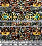 Soimoi Grau Satin Seide Stoff Streifen & Mosaik Kaleidoskop