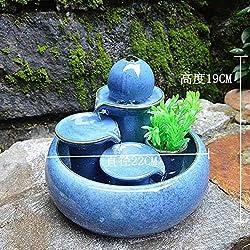 LONG Kreative Dekoration Keramik Brunnen Wasser Handwerk Wohnzimmer Home Water View Luftbefeuchter Dekoration Geschenk, blau