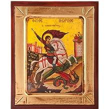 Legno Religious Icon 19cm x 24cm. ST George Icon. Greek Icon. Patron Saint. Saint George medaglia d' Inghilterra. Immagine di S. Giorgio e il drago