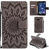 Ooboom® HTC U11 Hülle Sonnenblume Muster Flip PU Leder Schutzhülle Handy Tasche Case Cover Stand mit Kartenfach für HTC U11 - Grau