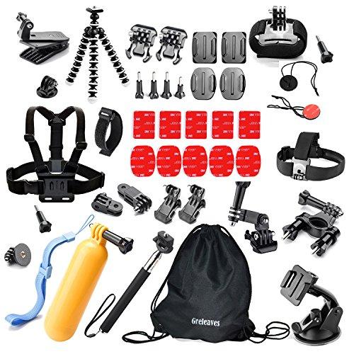 Greleaves 42 en 1 Kit de GoPro Accesorios para Series de Deportes Cámara GoPro Hero 1 2 3 3+ 4 SJ4000 SJ5000 SJ6000 QUMOX TecTecTec Topop Cam Equipos Fotográficos para Surf Ciclismo Puenting Accessories Esencial