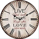 leise Wanduhr Vintage look Live Laugh Love
