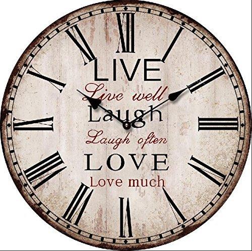 leise Wanduhr Vintage look Live Laugh Love