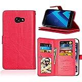 Samsung Galaxy A5 (2017) A520 Wallet Funda, CaseFirst PU Leather Estuche Flip Cover Carcasa Ranura de Tarjeta Cierre Magnético Carcasas para Samsung Galaxy A5 (2017) A520 (Rojo)