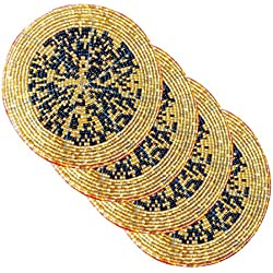 AsiaCraft Black & Golden Décor Indian Handmade Beaded Coffee, Tea Coaster 4.2 Inches Set of 4