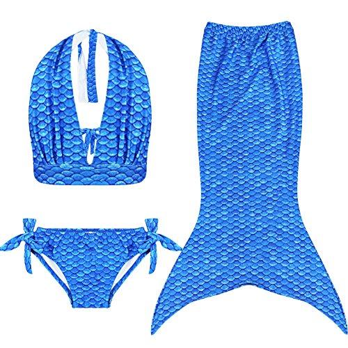iEFiEL Mädchen Badeanzug Meerjungfrau-Schwanz 3tlg. Bademode Bikini Set Kleinkind Bade Kostüm (134-140, Blau (Neckholder))