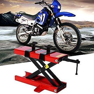 Caballete Elevador de Tijera, de Alta Resistencia de Acero al Carbono Moto Motocicleta Toma de Elevador de Tijera con 2 Placa Ajustable, 500 kg Capacidad MAX
