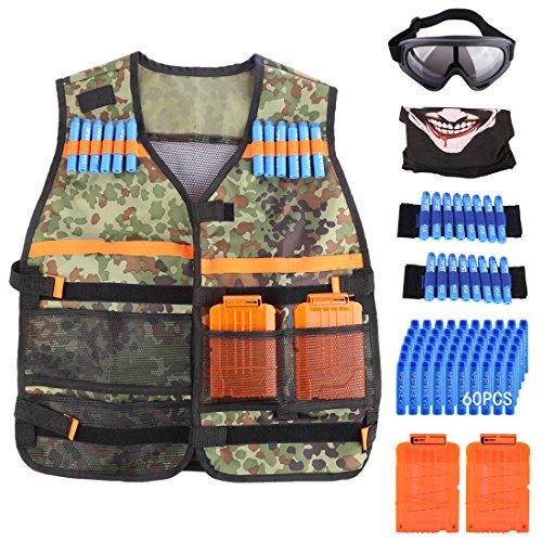 YVSoo Kit de Chaleco Táctico para Nerf N-Strike Elite Series (2 x Muñequeras, 1 x Gafas Protectoras, 2 x Bullet Clips, 1 x Máscara, 60 x Soft Dardos Bullets, 1 x Chaleco Táctico)