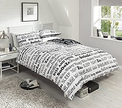 New Sleep Text Duvet Set Quilt Cover Pillowcase Bedding Poly-cotton 3 Sizes 3 Colours - low-cost UK light store.