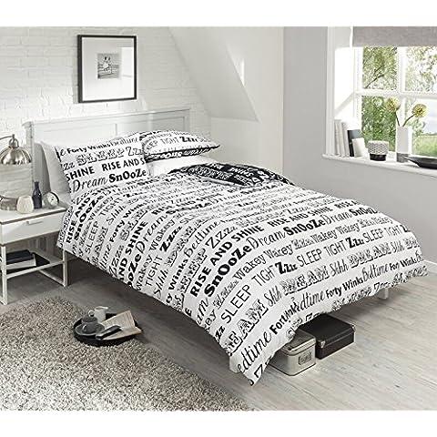 NUEVO sueño texto Juego de ropa de cama, funda de edredón de la funda de almohada juego de cama polialgodón 3tamaños 3colores, algodón mixto, negro / blanco, king