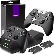 Fosmon Xbox One / One X / One S controller batteria caricabatterie, [Dual Slot] Alta velocità attracco / ricarica Stazione con 2 x 1000mAh ricaricabile Pacchi batteria