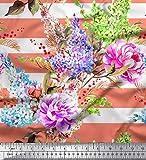 Soimoi Orange Samt Stoff Streifen, Lavendel & Pfingstrose