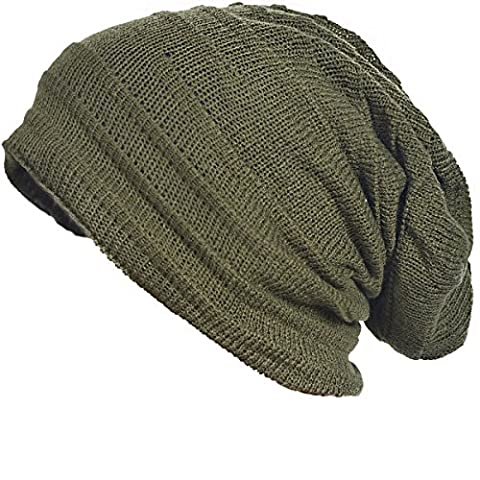 Chic Men Baggy Beanie Slouchy Knit Skull Cap Hat (Army Green)