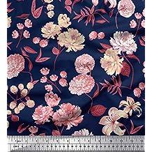 Soimoi Azul seda artificial Tela hojas, peonía y la dalia flor estampados de tela por