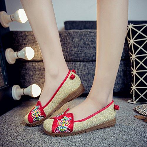 Icegrey Femmes Mary Janes Fait Main Broderie Fleur Ballerine Chaussures Plat Chaussures Bateau Rouge
