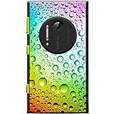Fancy A Snuggle - Cover Rigida per cellulari Nokia, Motivo: Gocce d'Acqua Colorate, Policarbonato PLASTICA, Gocce d'Acqua Color Arcobaleno, Nokia Lumia 1020
