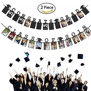 asdfg 2018 Graduation Photo Banner Party Supplies - Congrats Grad Class of 2018 Banner - Classy Graduation Decorations for Graduation Party Supplies 2018 (Set of 2)