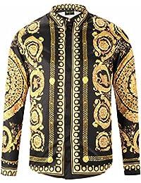 20e99ec5a44 Pizoff Chemise Homme à Belle Impression Luxury Design Dress Shirt Chemise  de Soirée Style Élégant Y1792