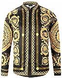 Pizoff Herren luxus palace Still fashion langärmliges Hemd Hip-Hop Tops mit golden floral Schild Medaille Druckmuster, Y1792-18, Gr. XL