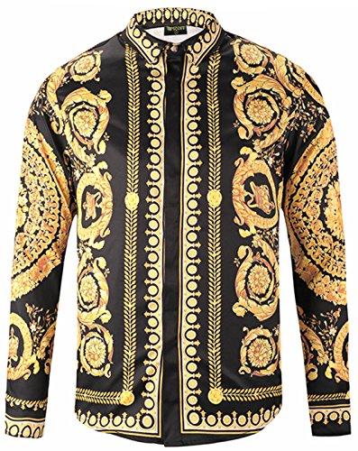 Pizoff Herren Luxus Langarm Hemden mit Baroque-Motiven,Y1792-18,Medium