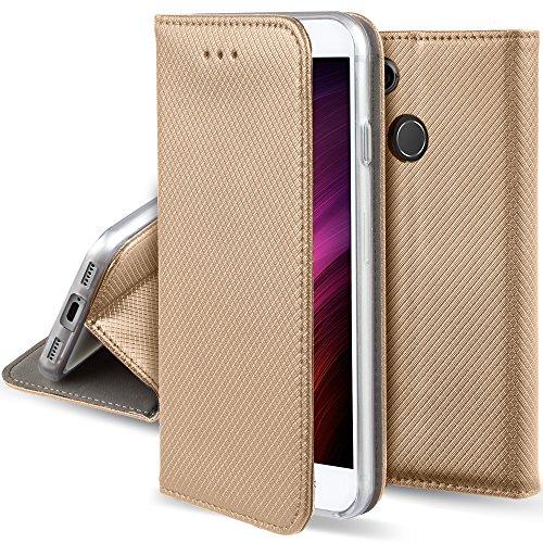 Moozy Funda para Xiaomi Redmi 4X, Oro - Flip Cover Smart Magnética con Stand Plegable y Soporte de Silicona